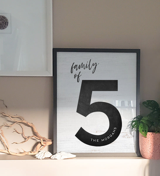 a framed family of 5 personalized print in a boho style home