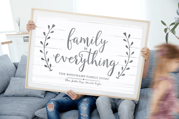 Family Is Everything personalized print in a modern home