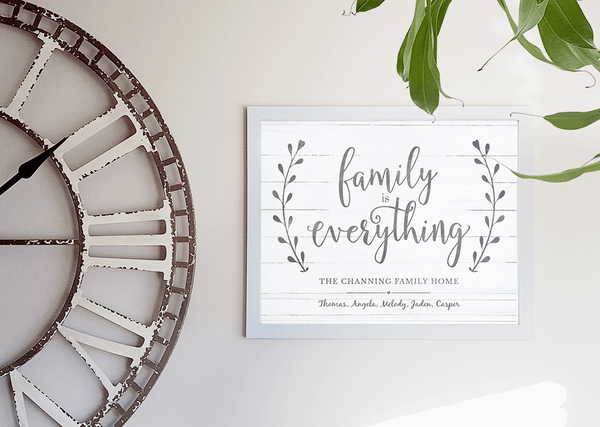 Family Is Everything print in a modern farmhouse inspired interior