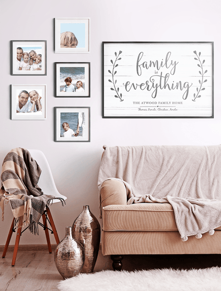 Beautiful family photo wall with the Family Is Everything personalized print