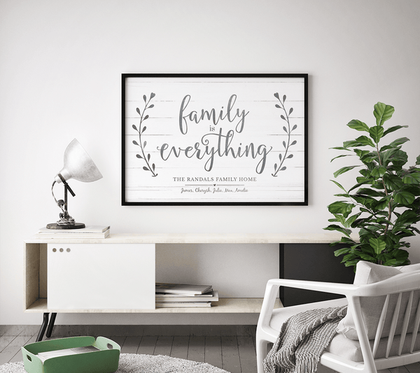 Family Is Everything print in a modern living room