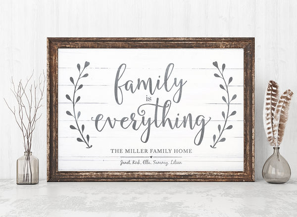 rustic frame and decor with the Family Is Everything personalized print