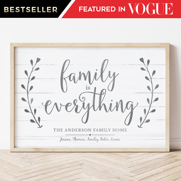Family Is Everything Personalized Print in a modern farmhouse wood frame