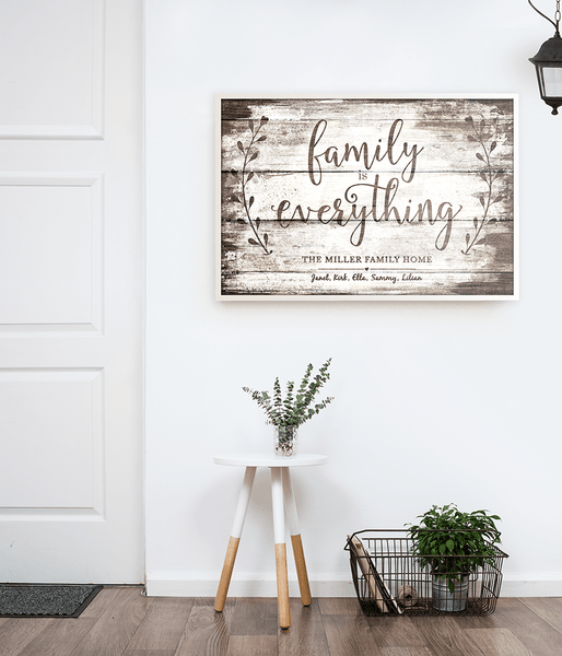 Modern, Nordic style room with Family is Forever personalized print hanging on the wall