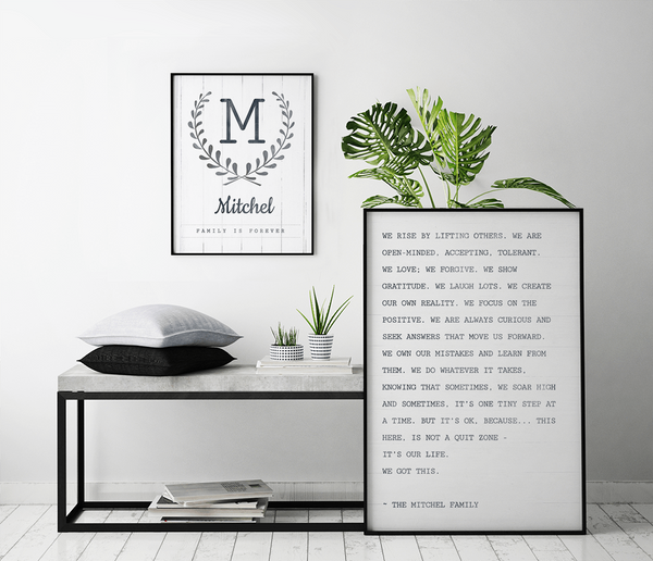 Nordic style room with The Family Manifesto personalized print