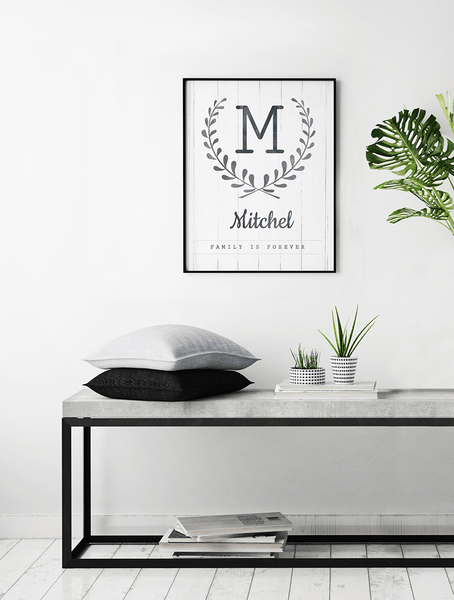 Modern, Nordic style room with Family is Forever personalized print framed on the wall
