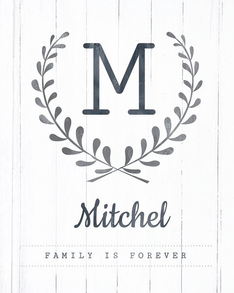 Close up look at the Family Is Forever personalized print