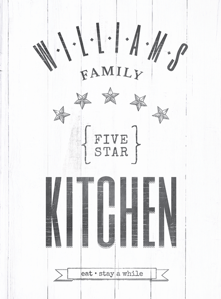 Closer look at the Five Star Family Kitchen personalized print