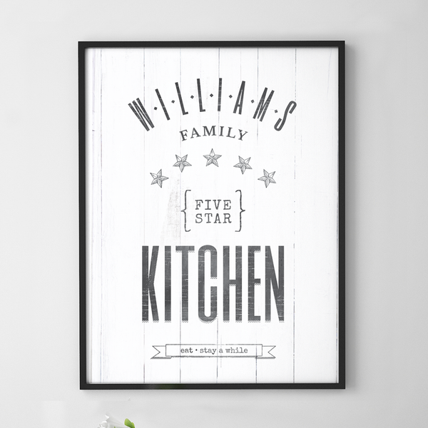 Personalized Five Star Family Kitchen print with rustic lettering and graphics
