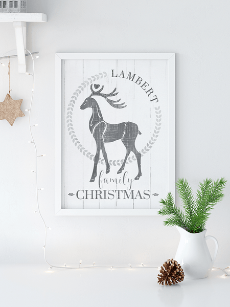 Family Christmas Personalized Print in a modern farmhouse room