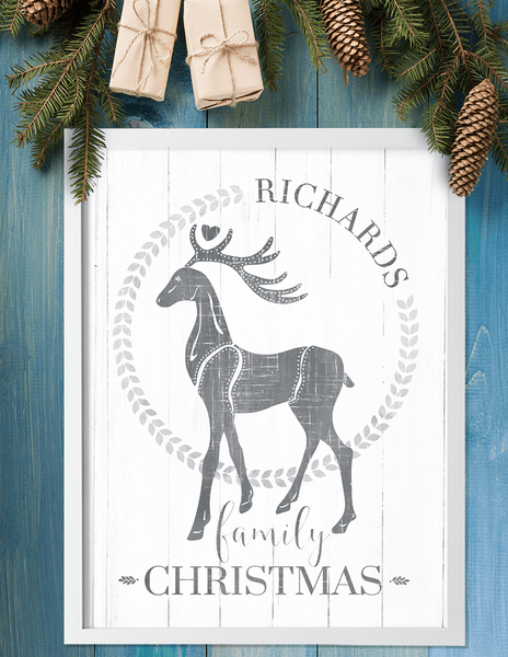 distressed looking personalized print for Christmas decor