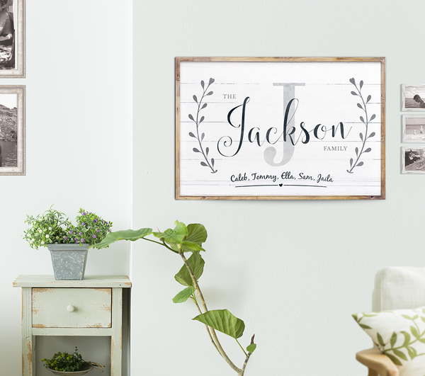 rustic room with Family personalized print