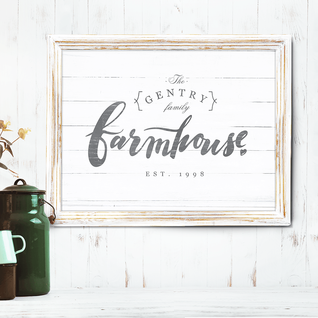 "This rustic style print features text ""farmhouse"" in brush lettering and you can personalize it with your family name and EST. date"