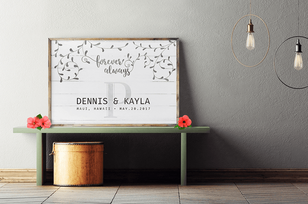 beautiful, boho style reception with Floral wedding personalized print