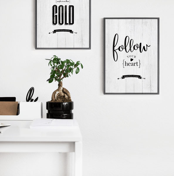 Follow Your Heart personalized print in a modern chic workspace