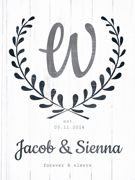 close up preview of the Forever & Always personalized print
