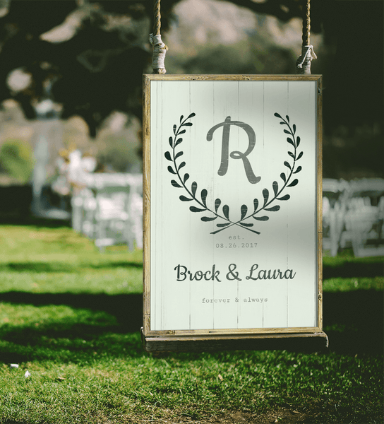 Forever & Always Personalized Print at an Outdoors WEdding