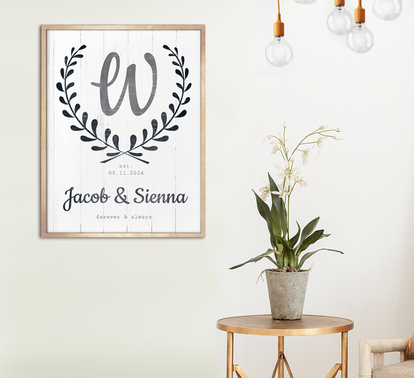 Glam Chic room with a framed Forever & Always personalized print