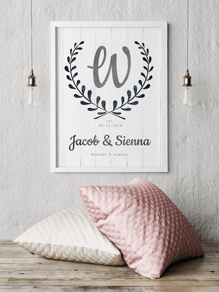 Forever & Always personalized print framed and hanging on the wall in a modern room