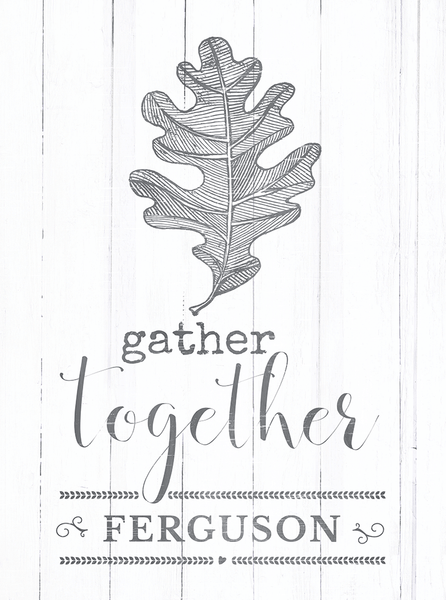 Close up view of the Gather Together personalized print