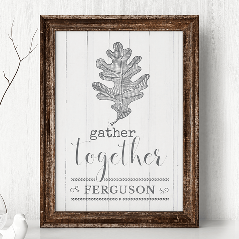 Gather Together personalized print with a vintage sketch of a oak leaf. Personalize it with your family name.