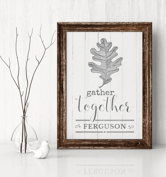 Rustic room with a framed Gather Together print