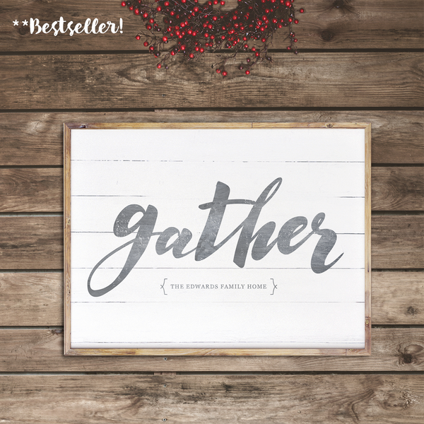 Framed Gather personalized print in a rustic room