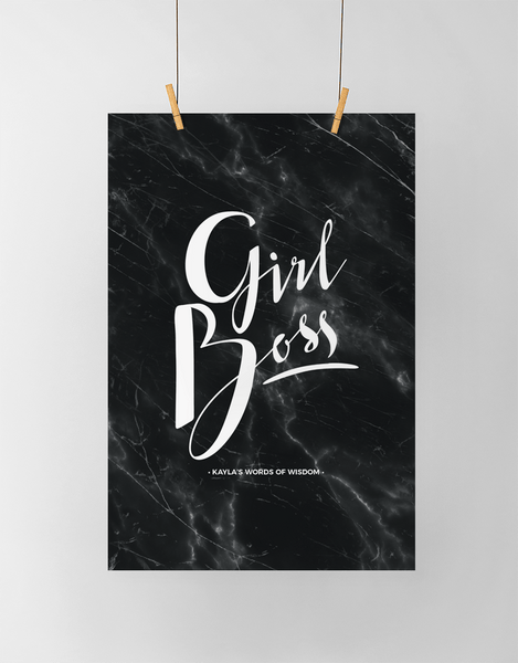 Girl Boss Personalized Print in black marble