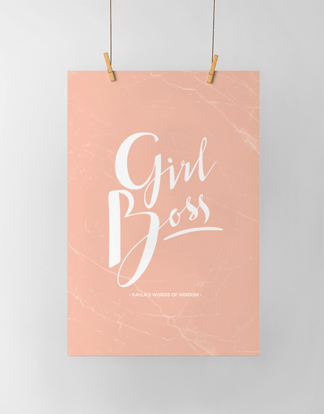 Girl Boss Personalized Print in blush marble