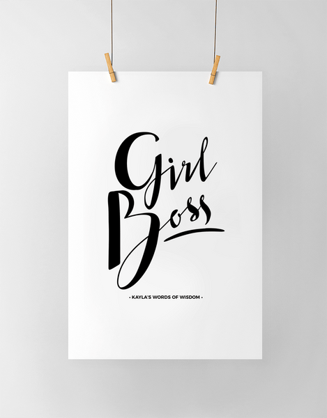 Girl Boss Personalized Print in black and white