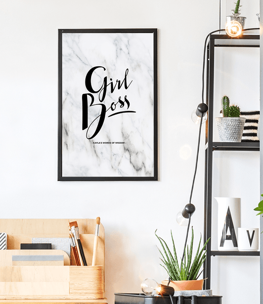 Girl Boss Personalized Print in a teenage study area