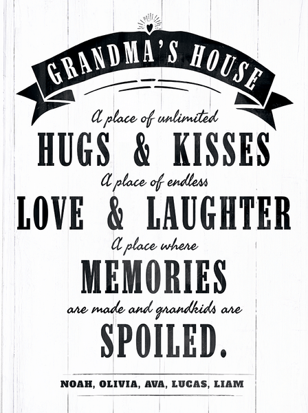 close up look at the Grandmas's House personalized print