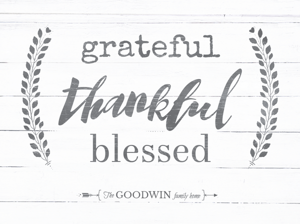 Close up preview of the Grateful Thankful Blessed personalized print