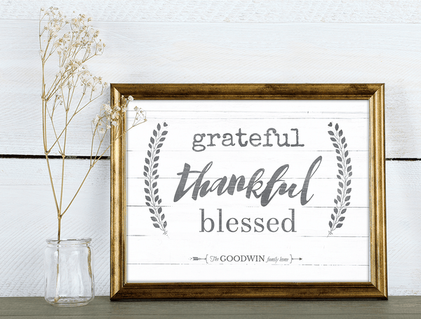 vintage decorated room with our rustic Grateful Thankful Blessed print framed in a gold frame
