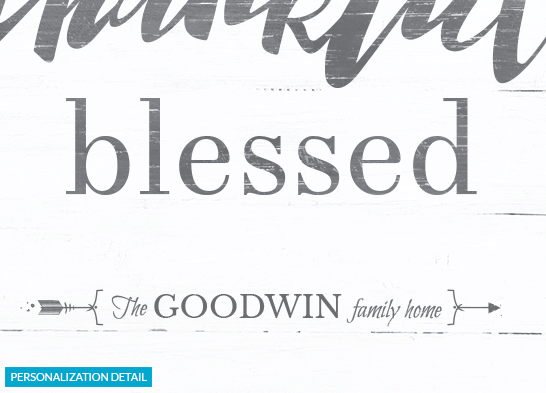 "Preview of the personalization on the ""grateful thankful blessed"" print"