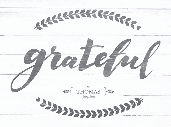 close up view of the Grateful print. Add your family name in the personalization area on this rustic beautiful print!
