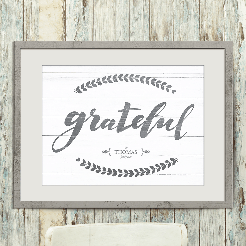 """Grateful"" personalized print in a matted frame."