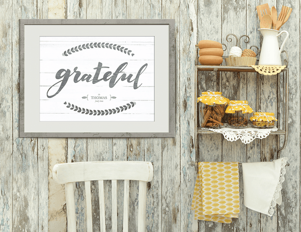 "Rustic kitchen with the ""Grateful"" personalized print hanging on the wall."