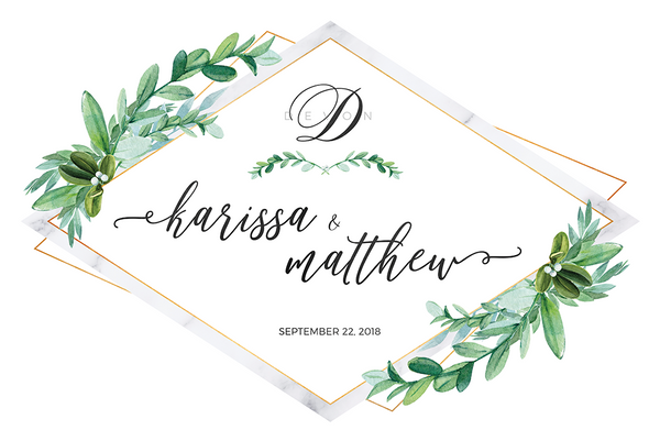 preview of the Greenery Marble personalized print