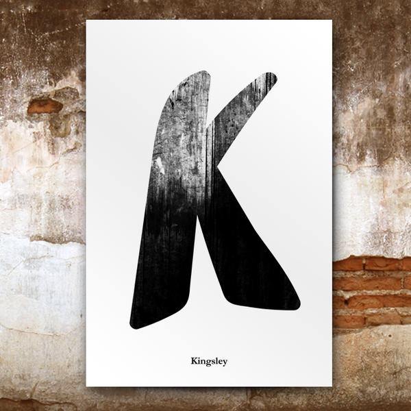 Grunge-Black poster image. Big letter K and last name Kingsley written below.