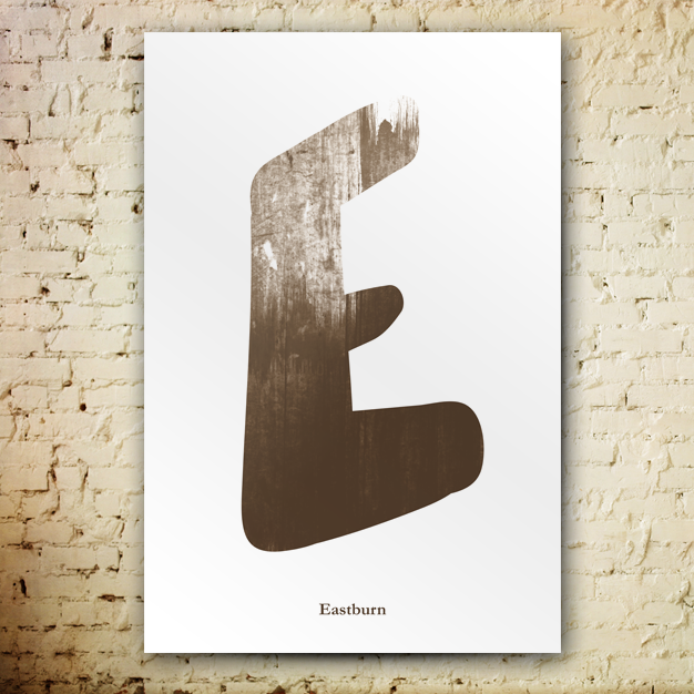 Grunge-Cepia poster. Big letter E with a cepia texture on white background. Last name Eastburn written underneath.