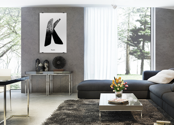 Grunge Black poster shown in a modern living room