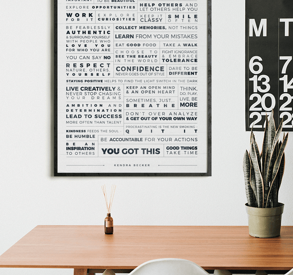 Manifesto Grid Personalized Print in a modern workspace