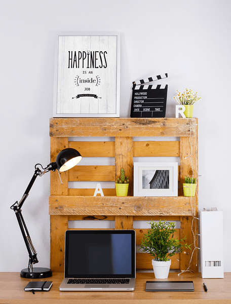 Happiness personalized print in a modern nordic workspace
