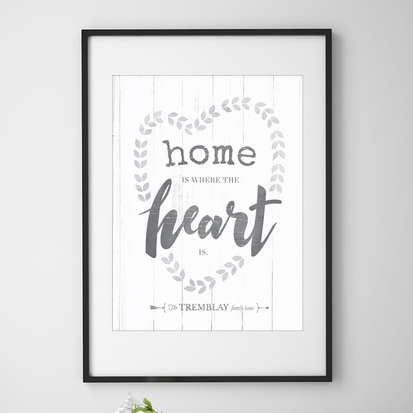 "Vintage looking personalized print with words ""home is where the heart is"" and a family name underneath."