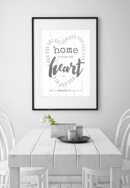 "rustic farmhouse dining area with a frame ""Heart Wreath"" personalized print above the table."