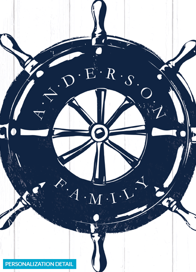 Detail view of the personalization on the Helm nautical print