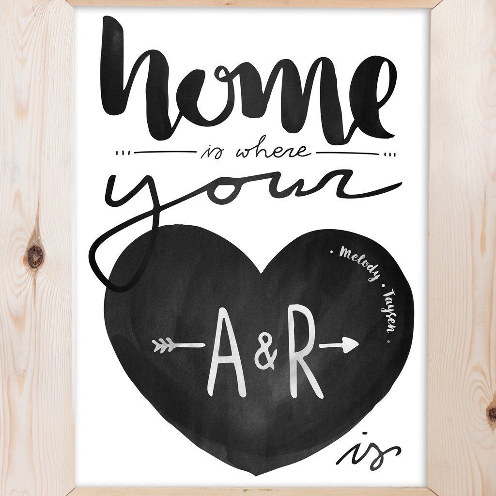 Home is where your heart is. Watercolor art with your initials inside the large heart and you children's names written inside the heart as well.