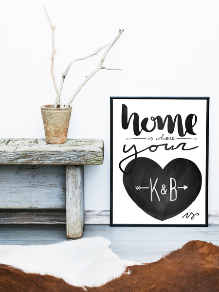 Rustic room with the Home is where your heart is poster against the wall