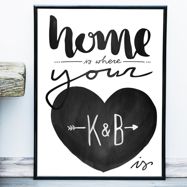 "Text on this poster reads ""home is where your heart is"" in watercolors. Add initials inside the hear!"